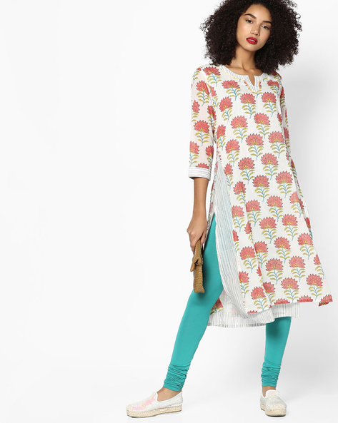 Floral Print Layered Kurta By Rangmanch By Pantaloons ( Rust )