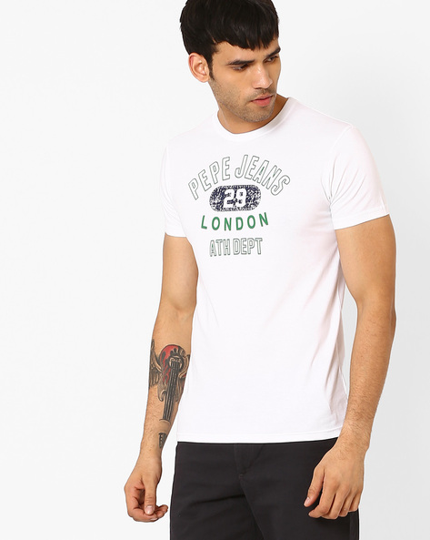 Slim Fit Graphic Print T-shirt By Pepe Jeans ( White ) - 460035619010