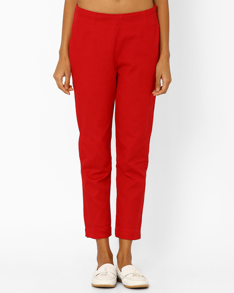 Cotton Trousers With Elasticated Waistband By AURELIA ( Red )
