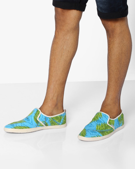 Printed Canvas Slip-On Shoes By Jack & Jones ( Lightblue )