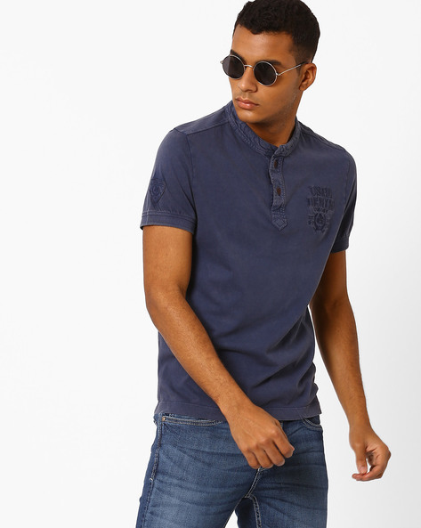 Henley T-shirt With Embroidered Branding By US POLO ( Blue )