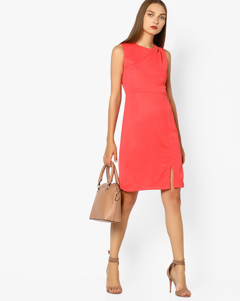 Bodycon Dress With Cut-Out By AJIO ( Coral )