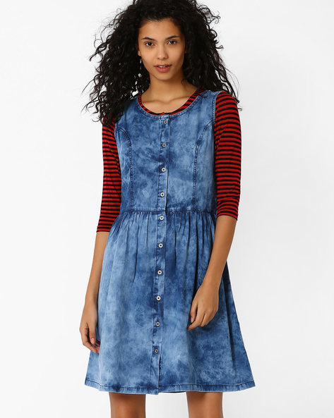 Denim Fit & Flare Dress By AJIO ( Blue )