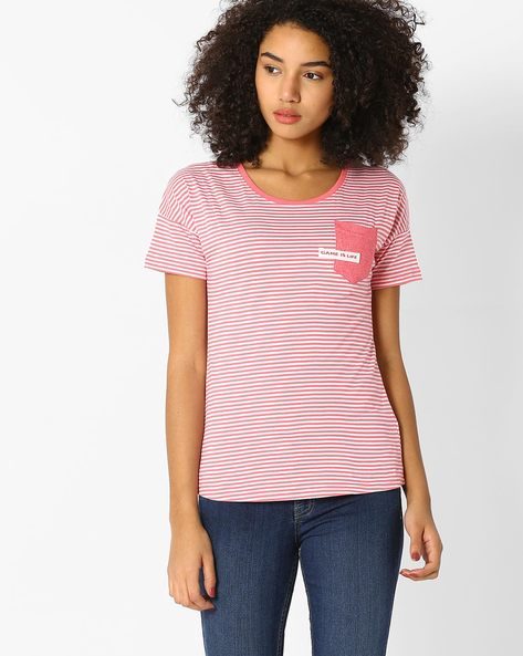 Striped T-shirt With Patch Pocket By TEAM SPIRIT ( Pink )