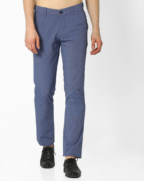 Flat-Front Slim Fit Cotton Trousers By NETWORK ( Blue )