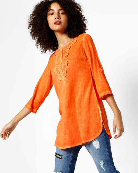 Kurti With Floral Crochet By Melange By Lifestyle ( Orange )