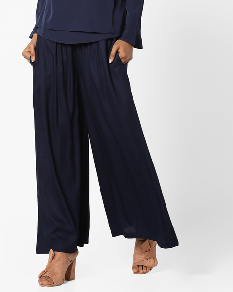 Flared Palazzos With Pocket By Project Eve IW Casual ( Navy )