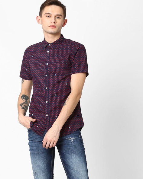Fish Print Slim Fit Shirt By AJIO ( Navy )