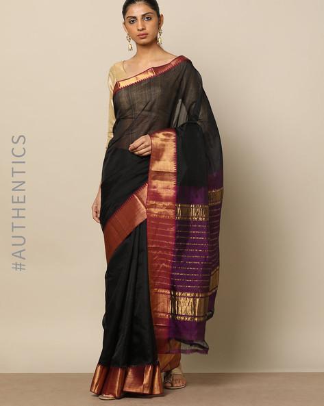 Handloom Mangalgiri Pure Silk Cotton Saree By Indie Picks ( Blue )
