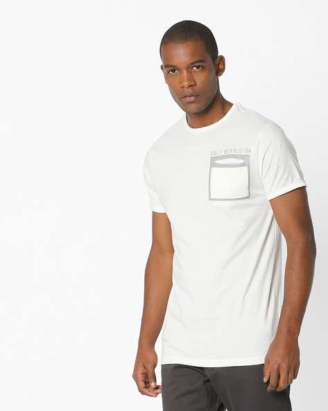 Crew-Neck T-shirt With Placement Print By DNMX ( Offwhite )