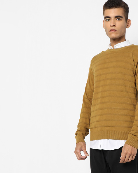 Jumper With Contrast Elbow Patches By AJIO ( Khaki )