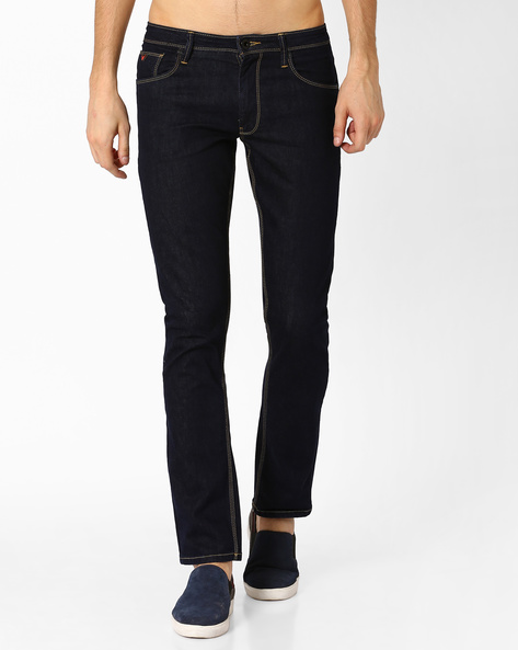 Low-Rise Slim Fit Jeans By Wills Lifestyle ( Blue )