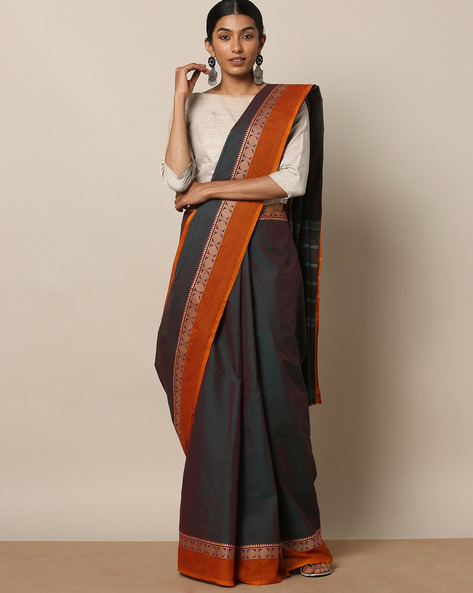 Kanchi Cotton Saree With Woven Border By Indie Picks ( Blue )
