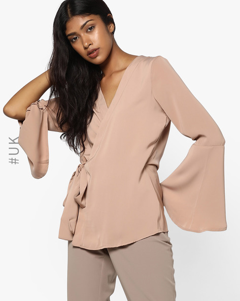 Surplice Neckline Top With Bell Sleeves By NEON ROSE ( Brown )