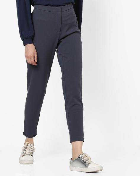Flat-Front Mid-Rise Pants By Vero Moda ( Fuschiablue )