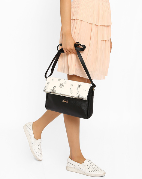 Sling Bag With Floral Print Flap By Lavie ( Black )