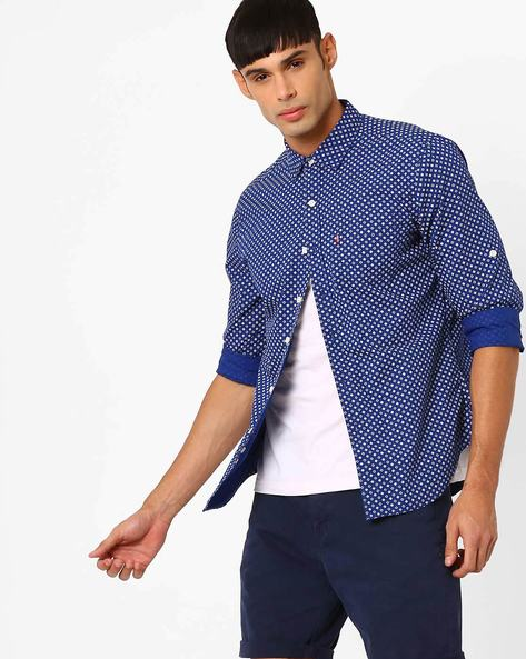 Geometric Print Cotton Shirt By LEVIS ( Blue )