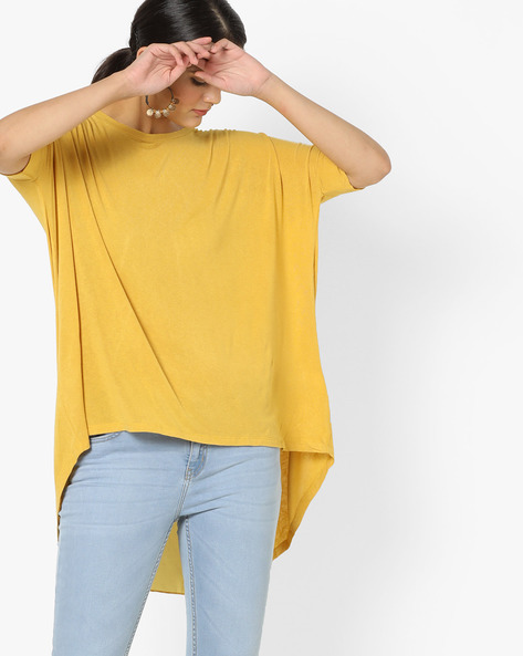 Boxy Top With High-Low Hem By Project Eve WW Casual ( Yellow )