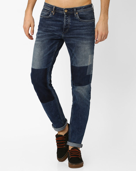 Comfort Fit Jeans With Shadow Patch Detail By Jack & Jones ( Blue )