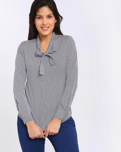 Striped Top By Annabelle By Pantaloons ( White )