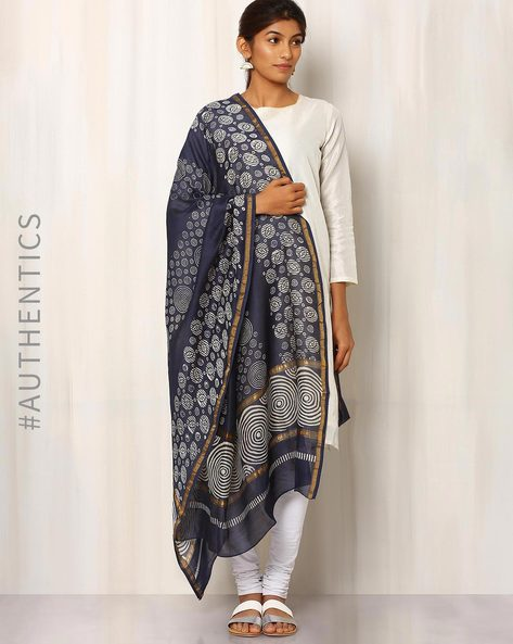 Hand Block Print Chanderi Dupatta By Keri ( Indigo ) - 460014724001