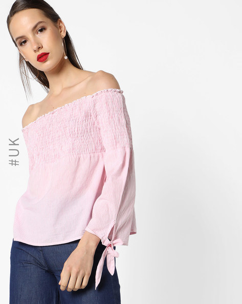 Self-Striped Off-Shoulder Top With Shirring By INFLUENCE ( Pink )