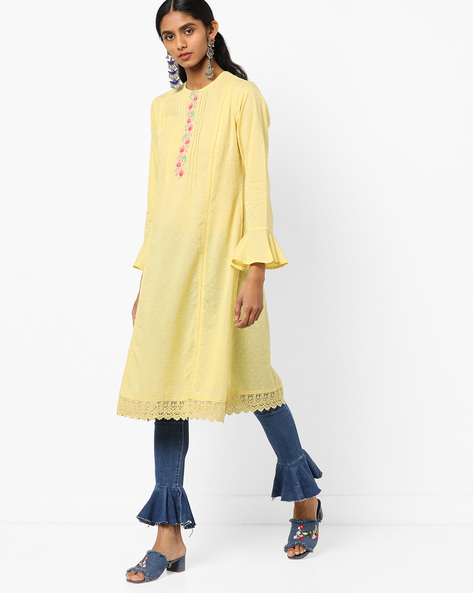 Floral Embroidered Straight Kurta With Flounce Sleeves By AJIO ( Yellow )