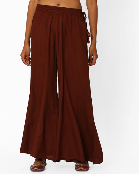 Palazzo Pants With Tassel Tie-Up By Khimsariya ( Brown )