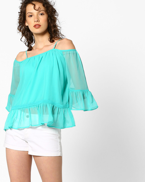 Strappy Top With Flounce Hem By AJIO ( Teal )