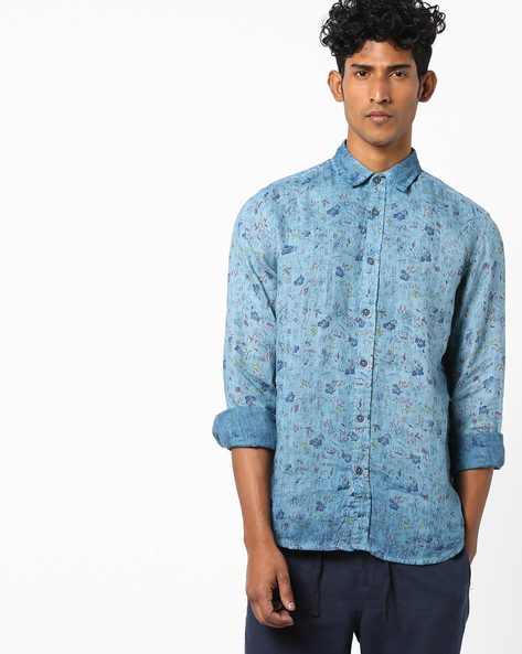 Floral Print Slim Fit Shirt By Jack & Jones ( Turqouise )