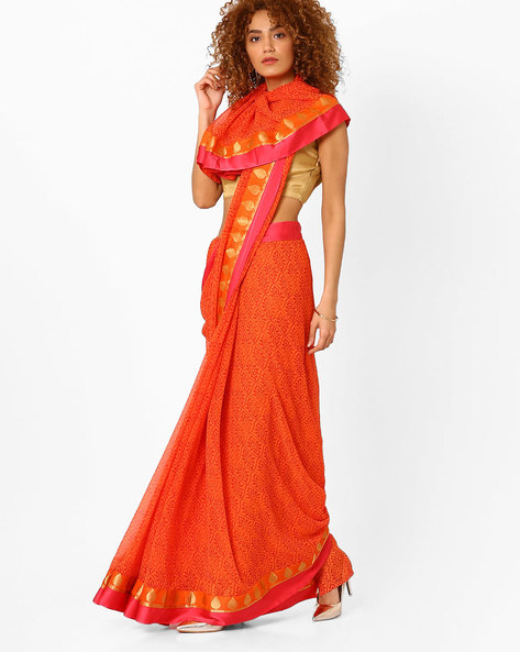 Printed Saree With Contrast Border By Arissa ( Orange )