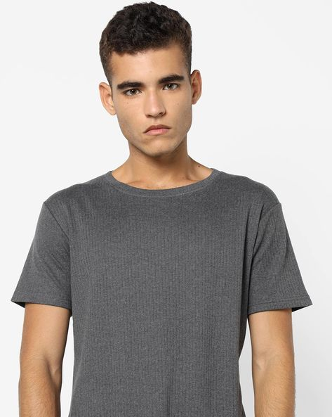 Ribbed Crew-Neck T-shirt By Blue Saint ( Charcoal )
