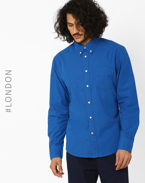 Cotton Poplin Slim Fit Shirt By Marks & Spencer ( Indigo )