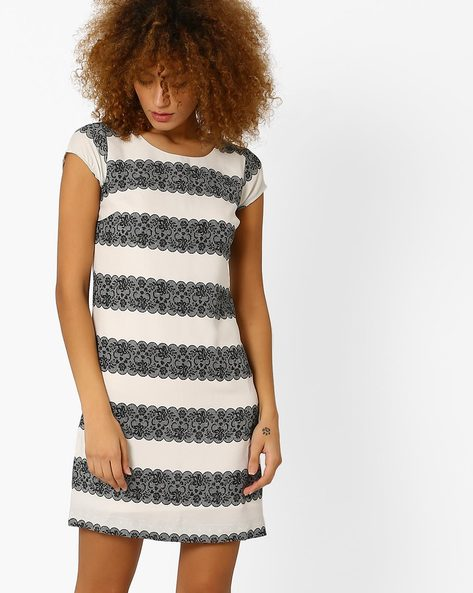 Printed Sheath Dress By Honey By Pantaloons ( Offwhite )