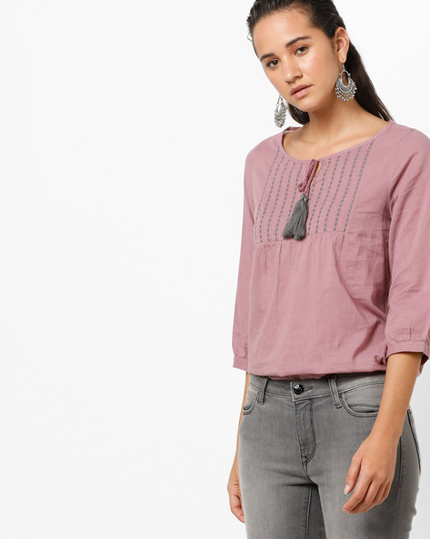Top With Embroidered Yoke By Fame Forever By Lifestyle ( Lilac )