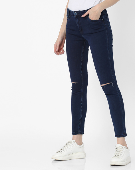 Mid-Rise Distressed Jeans By Tokyo Talkies ( Navyblue )