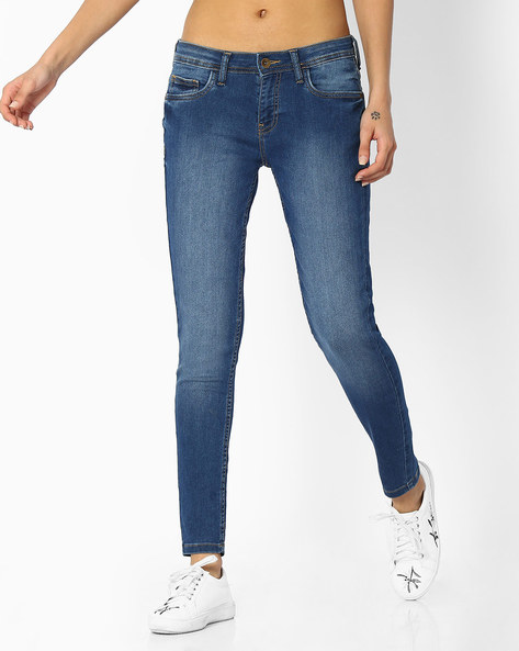 Lightly Washed Mid-Rise Jeans By DNM X ( Mediumblue )