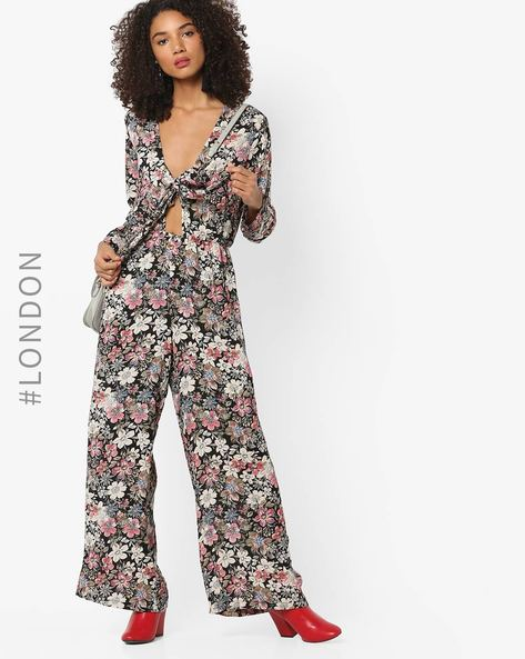 Wide-Leg Floral Print Jumpsuit With Tie-Up By Glamorous ( Multi )
