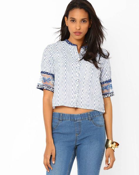Printed Crop Top By Biba ( White )