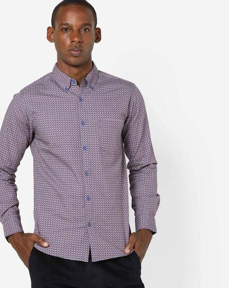 Printed Shirt With Button-Down Collar By SPYKAR ( Purple )