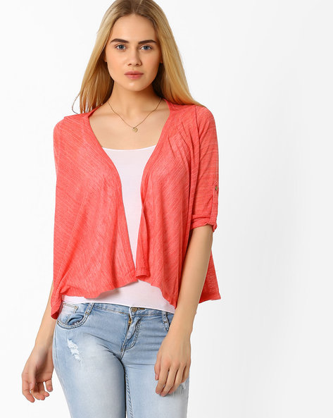 Open-Front Shrug By RIO ( Redorange )
