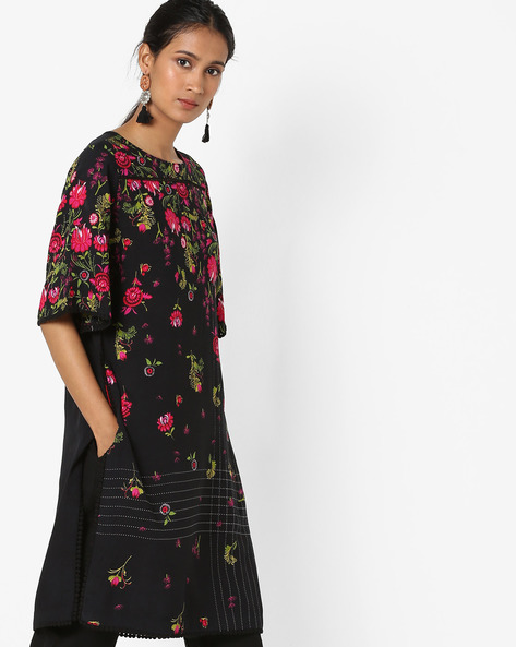 Floral Print Tunic With Pockets By Arah ( Black )