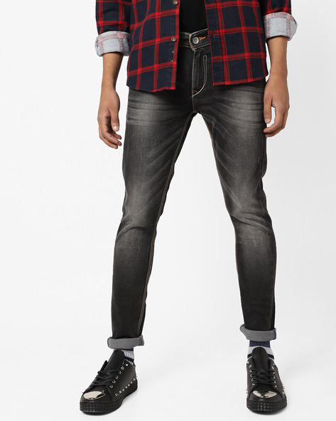 Mid-Rise Skinny Fit Jeans With Whiskers By SPYKAR ( Black )