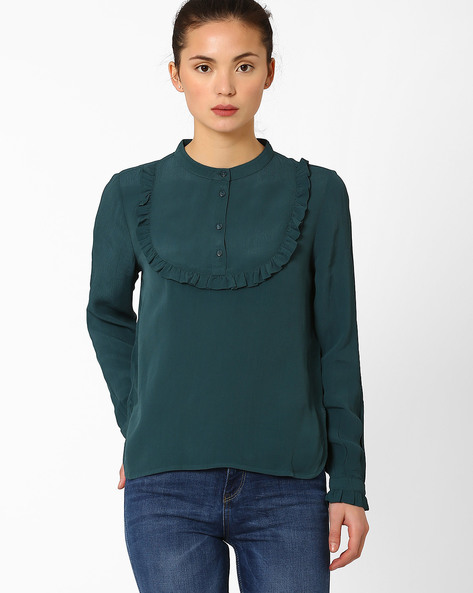 Ruffle Top With Mandarin Collar By Only ( Teal )
