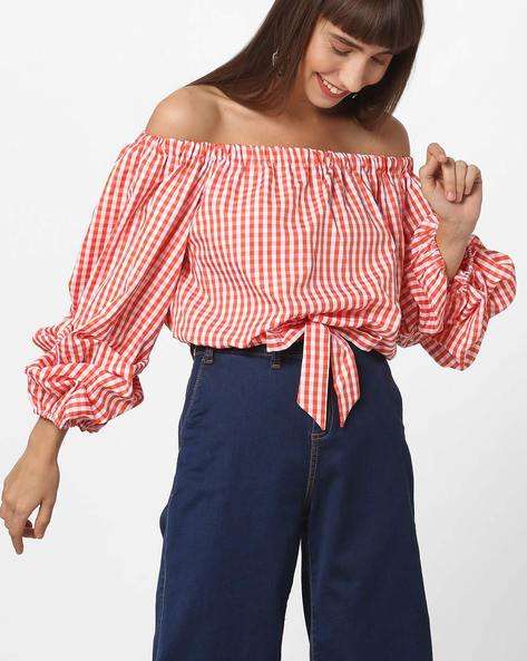 Off-Shoulder Checked Top With Tie-Up By Ginger By Lifestyle ( Orange )