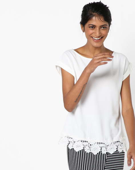 Top With Floral Lace Panel By Vero Moda ( Whiteswan )