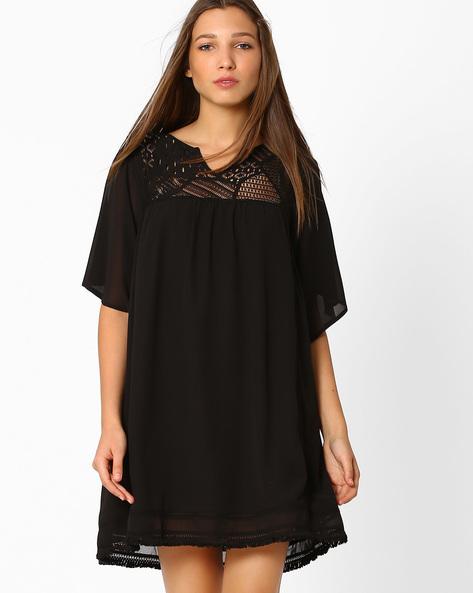 Sheer Woven Shift Dress By Femella ( Black )
