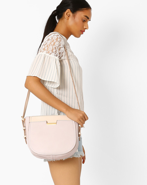 PU Sling Bag By AJIO ( Pink )