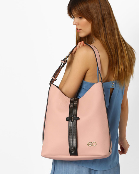 Faux Leather Hobo Bag By E2O ( Pink )