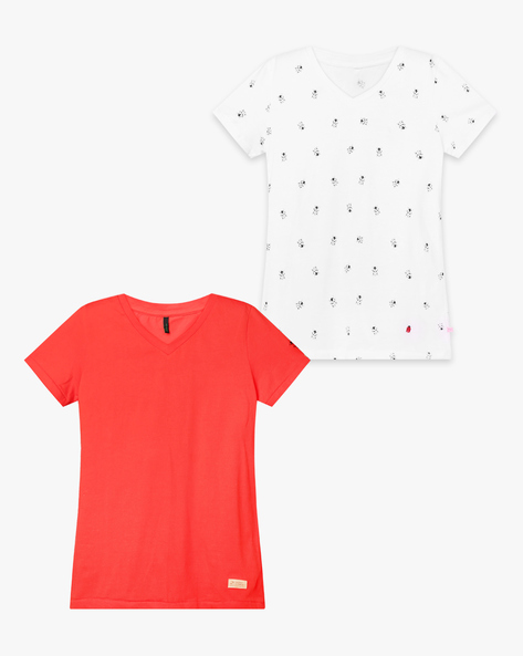 Pack Of 2 V-neck T-shirts By UNITED COLORS OF BENETTON ( Orange )